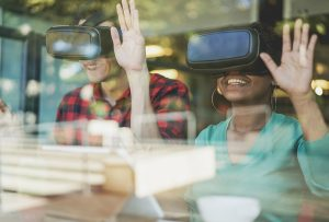 Friends with VR goggles